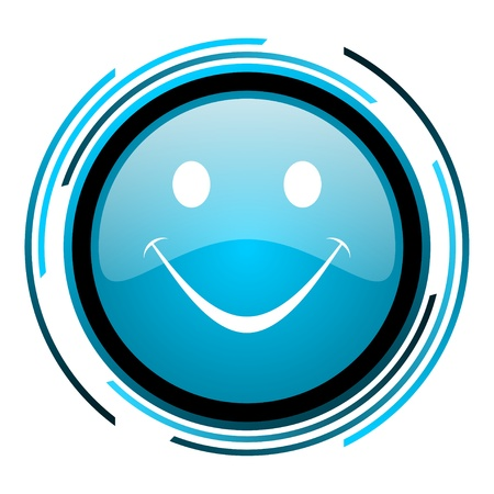 smile blue circle glossy icon Stock Photo - 19705356