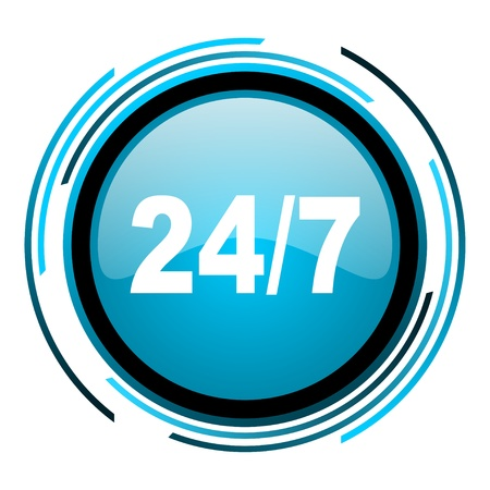 24/7 blue circle glossy icon