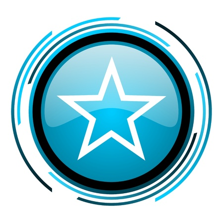 star blue circle glossy icon  photo