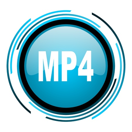 mp4: mp4 blue circle glossy icon