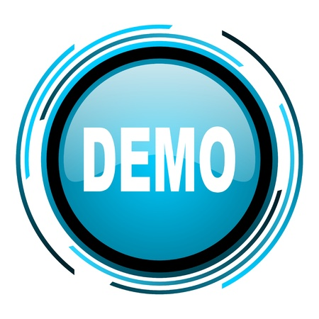 demo blue circle glossy icon  photo