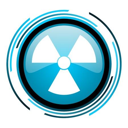 radiation blue circle glossy icon Stock Photo - 19705226