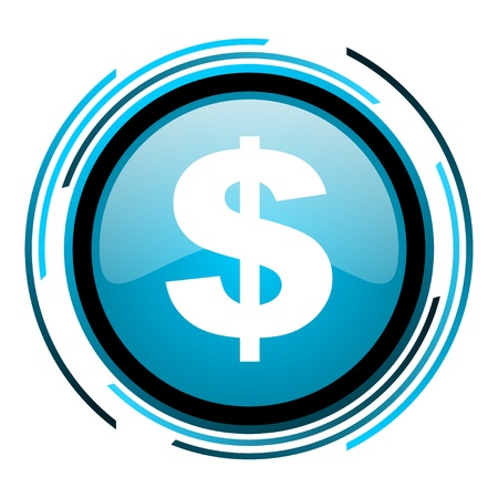 us dollar blue circle glossy icon  photo