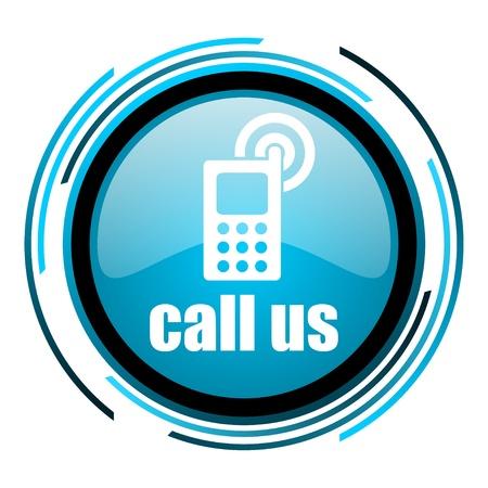call us: call us blue circle glossy icon