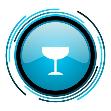 champain: glass blue circle glossy icon