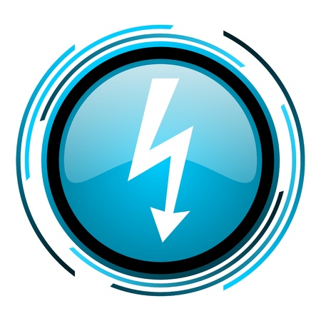 lightning blue circle glossy icon  photo