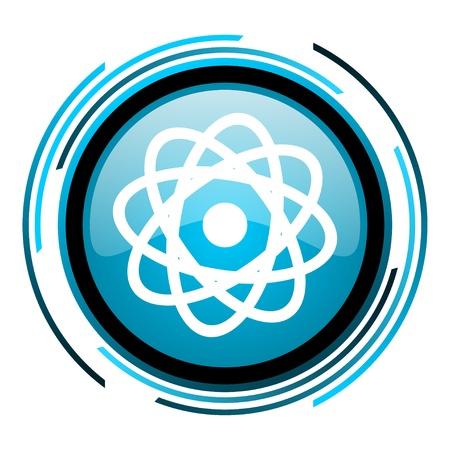 atom blue circle glossy icon Stock Photo - 19705571