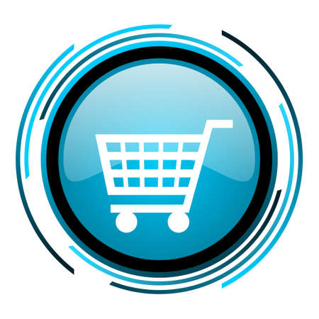 shopping cart blue circle glossy icon  photo
