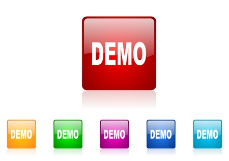 demo square web glossy icon colorful set  photo