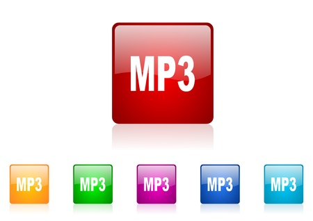 mp3 square web glossy icon colorful set  photo