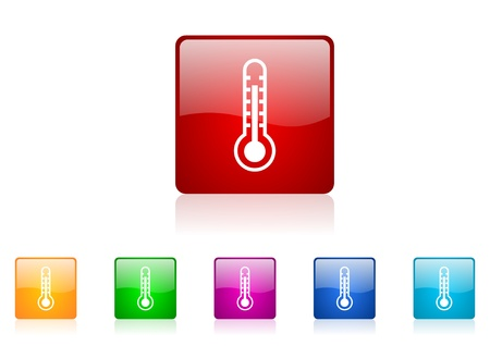 thermometer square web glossy icon colorful set