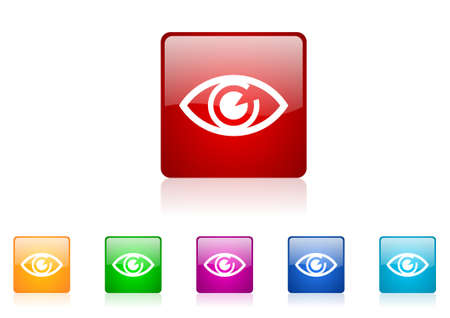 eye square web glossy icon colorful set Stock Photo - 19705145