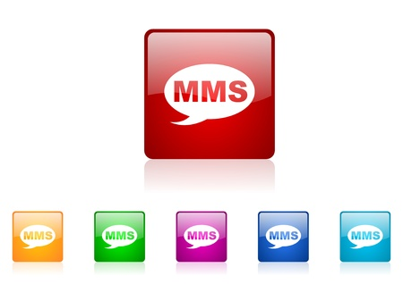 mms square web glossy icon colorful set  photo
