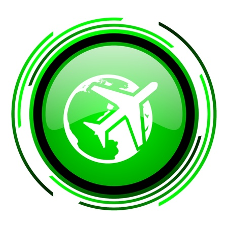 travel green circle glossy icon  photo
