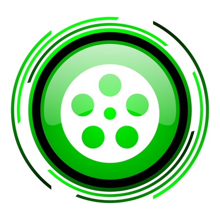 film green circle glossy icon  photo