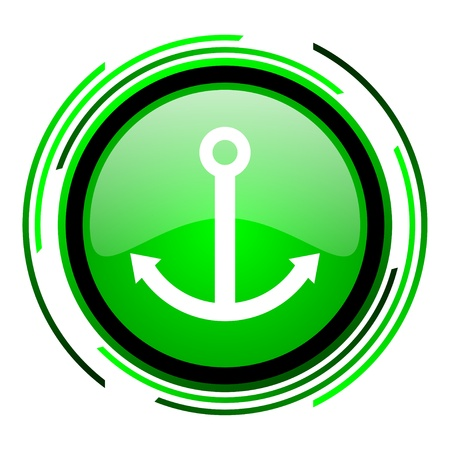 anchor green circle glossy icon  photo