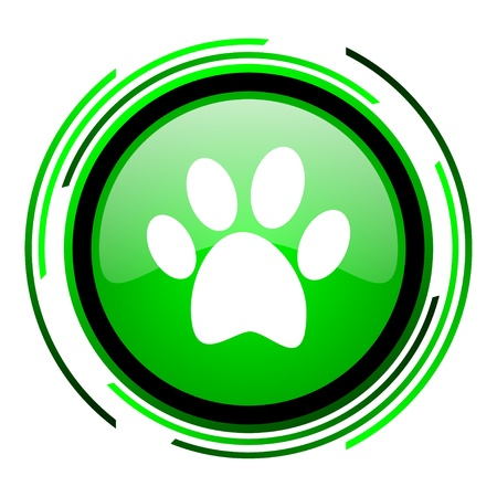animal footprint green circle glossy icon  photo
