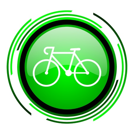 cycle race: bicycle green circle glossy icon