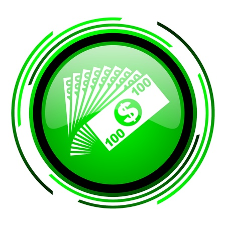 money green circle glossy icon  photo