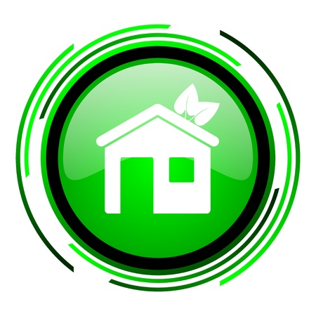 home green circle glossy icon  photo