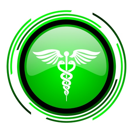 caduceus green circle glossy icon  Stock Photo
