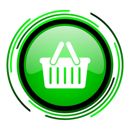shopping cart green circle glossy icon  photo