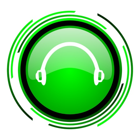 headphones green circle glossy icon Stock Photo - 20099613