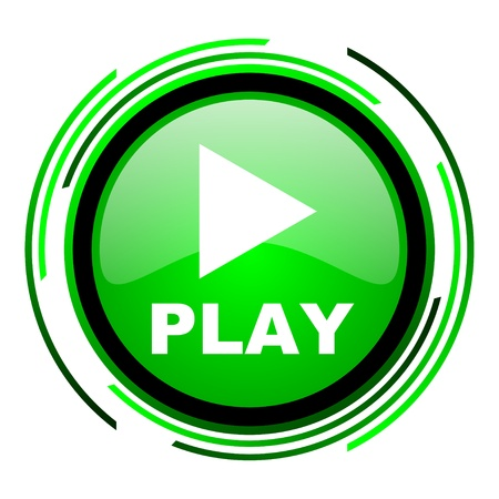 play green circle glossy icon  photo