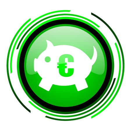 piggy bank green circle glossy icon  photo