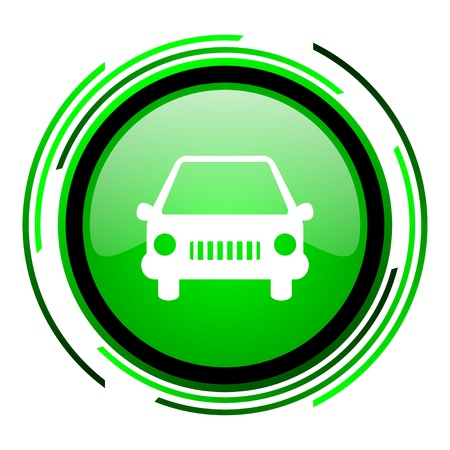 car green circle glossy icon  photo