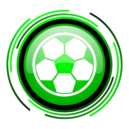 soccer green circle glossy icon  photo