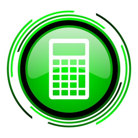 calculator green circle glossy icon Stock Photo - 20099682