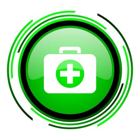 botiquin primeros auxilios: botiqu�n de primeros auxilios icono de c�rculo verde brillante Foto de archivo