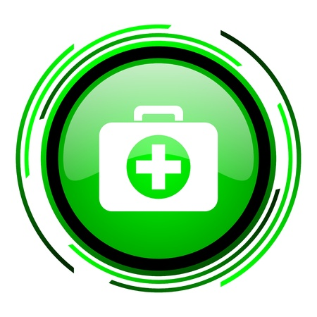 first aid kit green circle glossy icon  photo