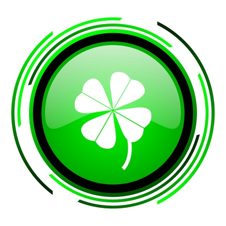four-leaf clover green circle glossy icon  photo