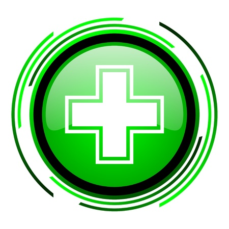 pharmacy green circle glossy icon  photo