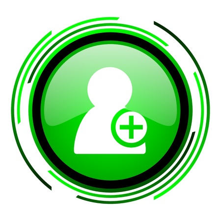 add contact green circle glossy icon  photo