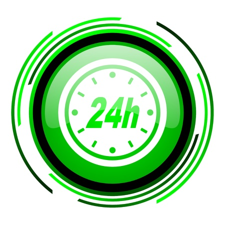 24h green circle glossy icon  photo