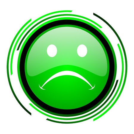 cry green circle glossy icon Stock Photo - 20099632