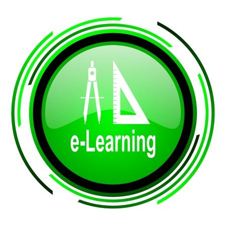 e-learning green circle glossy icon  photo