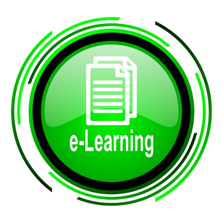 e-learning green circle glossy icon  photo