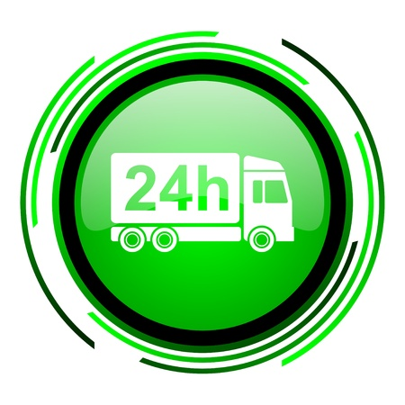 delivery 24h green circle glossy icon  photo