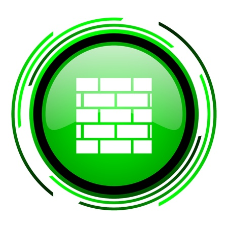 firewall green circle glossy icon  photo