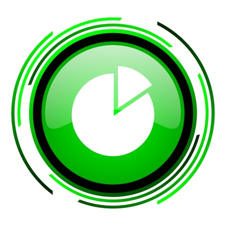 chart green circle glossy icon Stock Photo - 20099528