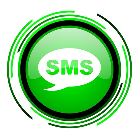 sms green circle glossy icon  photo