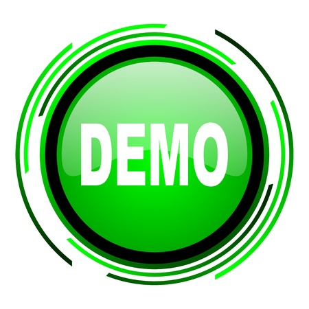 demo green circle glossy icon  photo