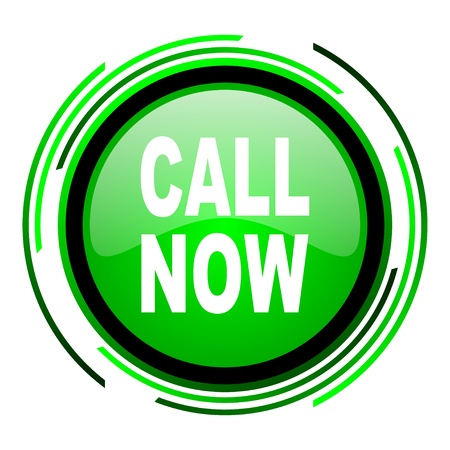 call now green circle glossy icon  photo