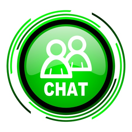 chat green circle glossy icon  photo