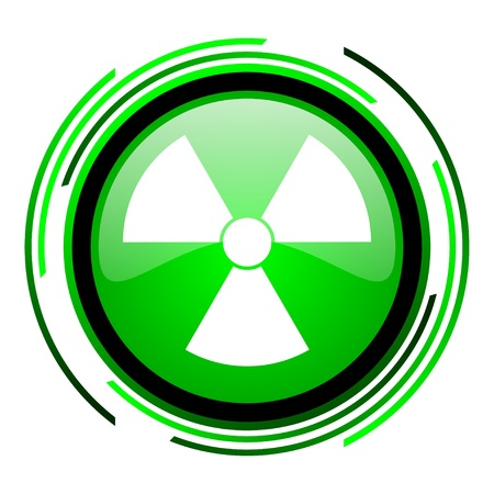 radiation green circle glossy icon  photo