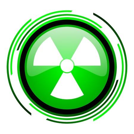 radiation green circle glossy icon Stock Photo - 20106645